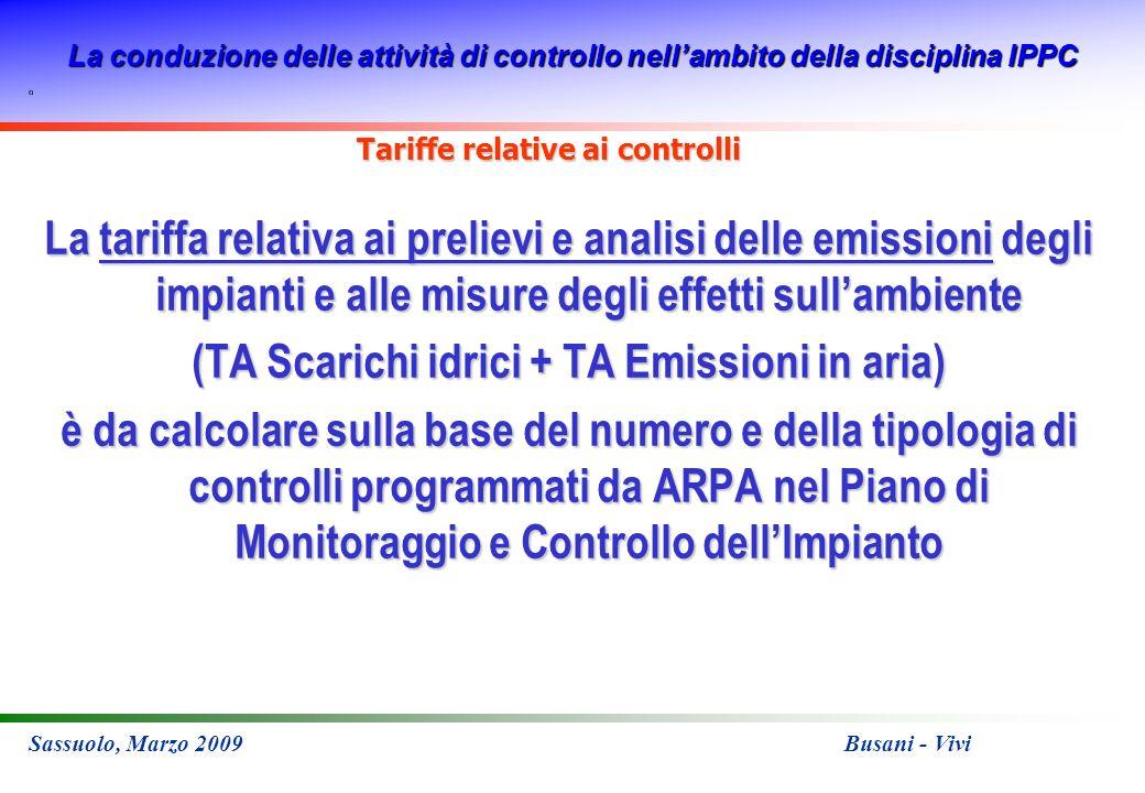La conduzione delle attività di controllo nellambito della disciplina IPPC Sassuolo, Marzo 2009 Busani - Vivi Tariffe relative ai controlli La tariffa