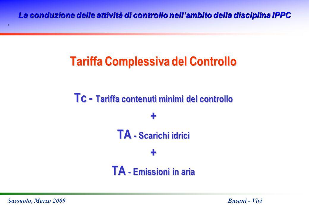 La conduzione delle attività di controllo nellambito della disciplina IPPC Sassuolo, Marzo 2009 Busani - Vivi Tariffa Complessiva del Controllo Tc - Tariffa contenuti minimi del controllo + TA - Scarichi idrici + TA - Emissioni in aria