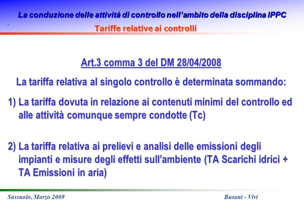 La conduzione delle attività di controllo nellambito della disciplina IPPC Sassuolo, Marzo 2009 Busani - Vivi Art.3 comma 3 del DM 28/04/2008 La tarif