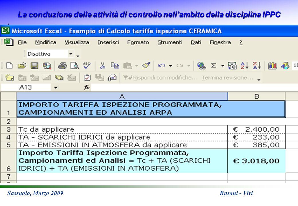 La conduzione delle attività di controllo nellambito della disciplina IPPC Sassuolo, Marzo 2009 Busani - Vivi