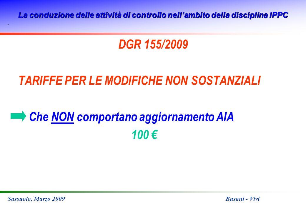 La conduzione delle attività di controllo nellambito della disciplina IPPC Sassuolo, Marzo 2009 Busani - Vivi DGR 155/2009 TARIFFE PER LE MODIFICHE NON SOSTANZIALI Che NON comportano aggiornamento AIA 100