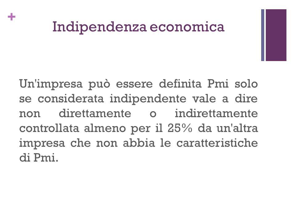 + Indipendenza economica Un'impresa può essere definita Pmi solo se considerata indipendente vale a dire non direttamente o indirettamente controllata