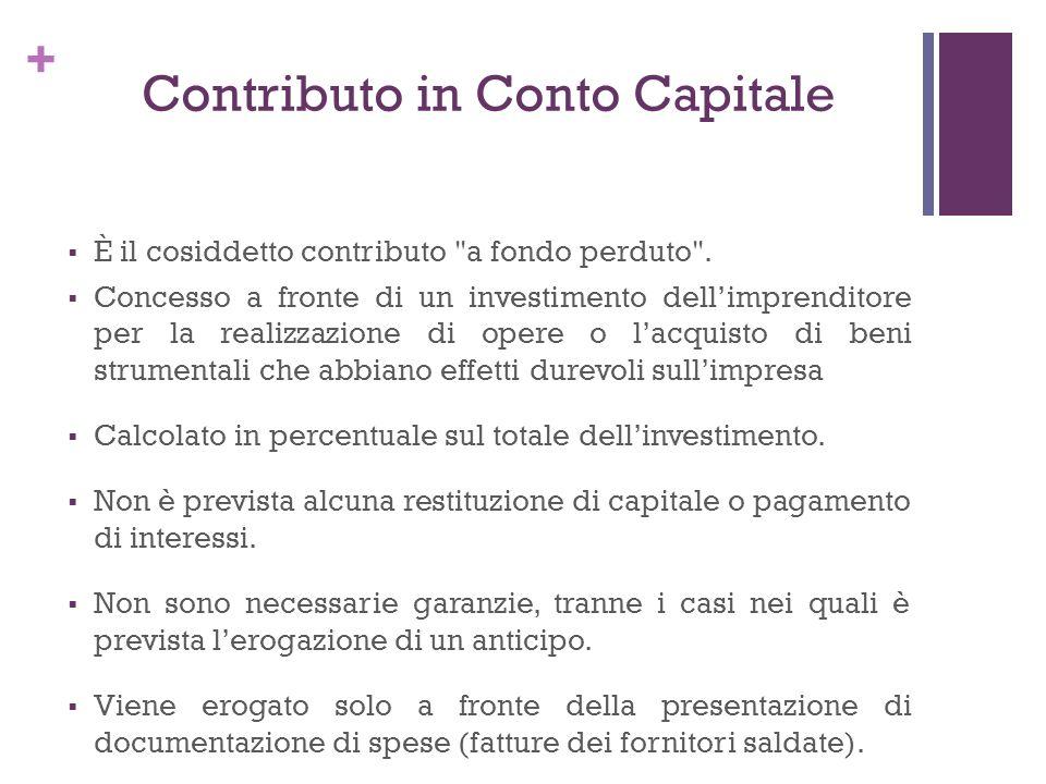 + Contributo in Conto Capitale È il cosiddetto contributo