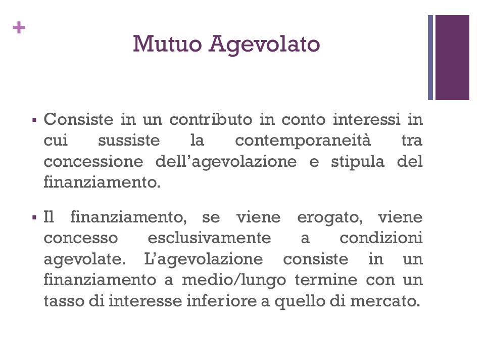 + Mutuo Agevolato Consiste in un contributo in conto interessi in cui sussiste la contemporaneità tra concessione dellagevolazione e stipula del finan
