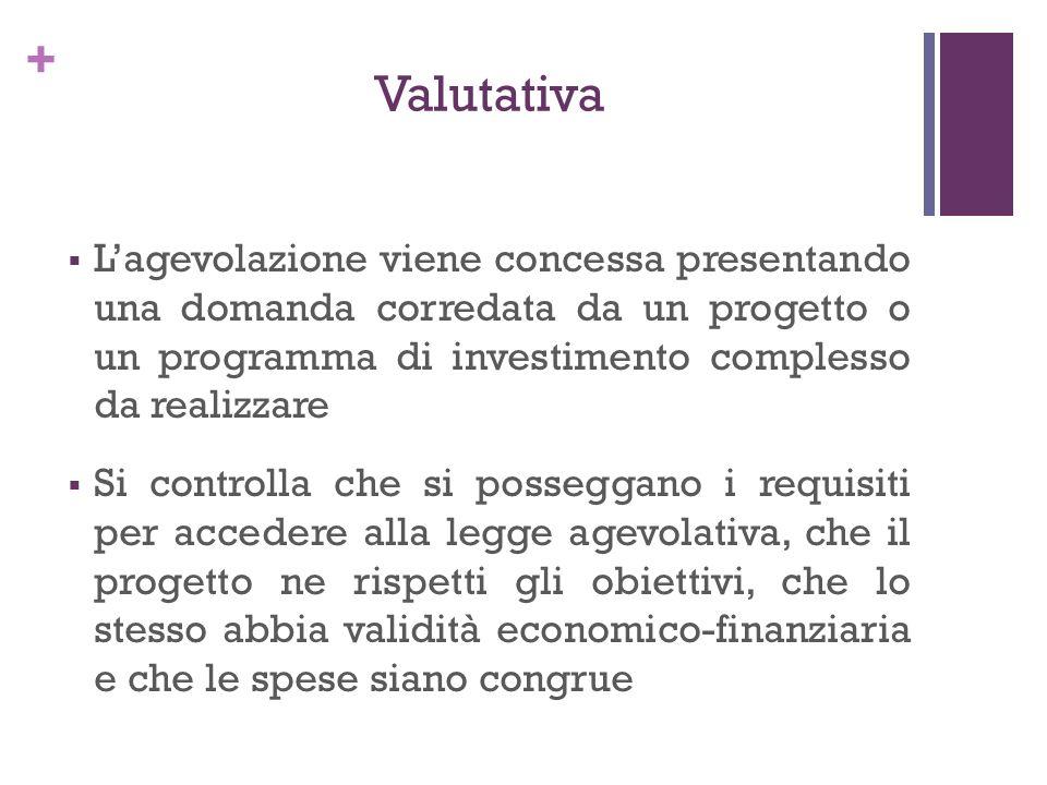+ Valutativa Lagevolazione viene concessa presentando una domanda corredata da un progetto o un programma di investimento complesso da realizzare Si c