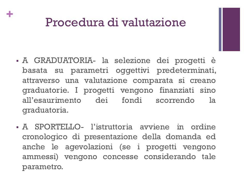+ Procedura di valutazione A GRADUATORIA- la selezione dei progetti è basata su parametri oggettivi predeterminati, attraverso una valutazione compara