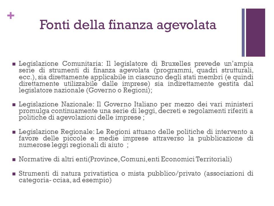 + Fonti della finanza agevolata Legislazione Comunitaria: Il legislatore di Bruxelles prevede unampia serie di strumenti di finanza agevolata (program
