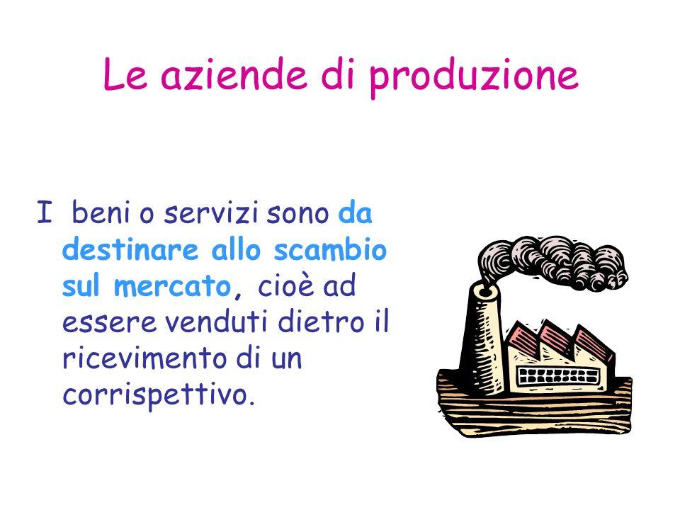 Le aziende di produzione I beni o servizi sono da destinare allo scambio sul mercato, cioè ad essere venduti dietro il ricevimento di un corrispettivo.
