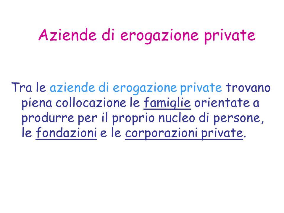 Aziende di erogazione private Tra le aziende di erogazione private trovano piena collocazione le famiglie orientate a produrre per il proprio nucleo di persone, le fondazioni e le corporazioni private.