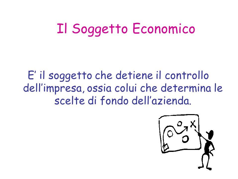 Il Soggetto Economico E il soggetto che detiene il controllo dellimpresa, ossia colui che determina le scelte di fondo dellazienda.