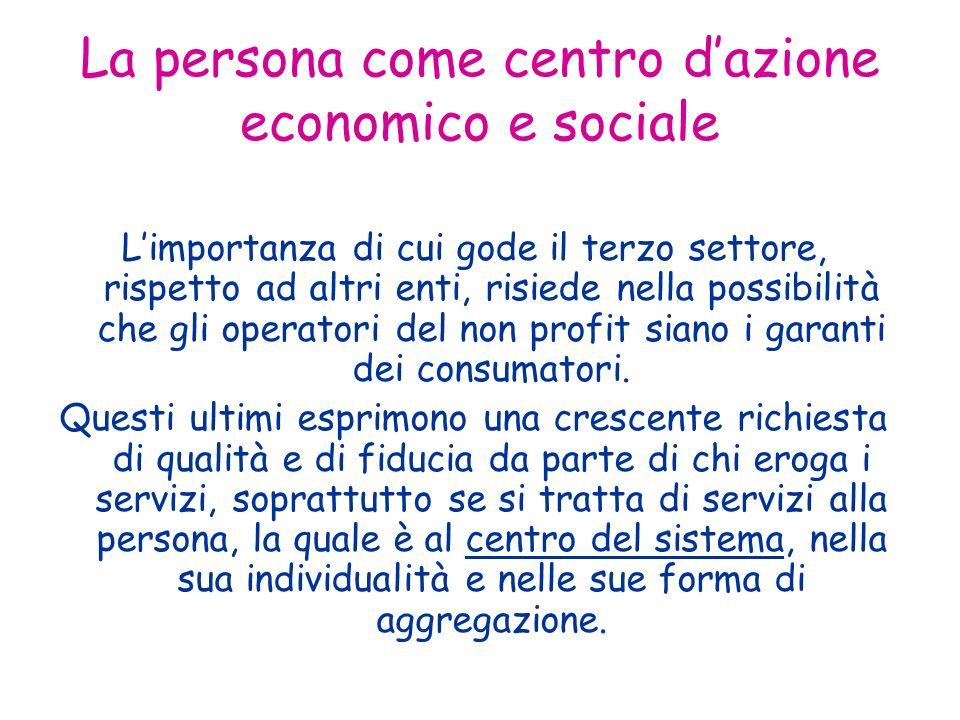 La persona come centro dazione economico e sociale Limportanza di cui gode il terzo settore, rispetto ad altri enti, risiede nella possibilità che gli operatori del non profit siano i garanti dei consumatori.
