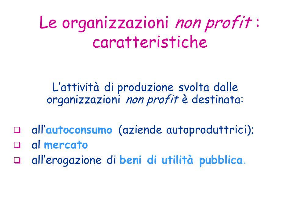 Le organizzazioni non profit : caratteristiche Lattività di produzione svolta dalle organizzazioni non profit è destinata: allautoconsumo (aziende autoproduttrici); al mercato allerogazione di beni di utilità pubblica.