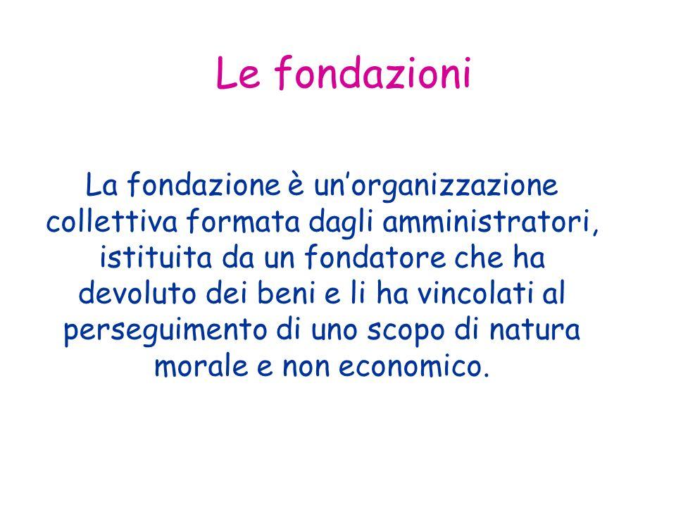 Le fondazioni La fondazione è unorganizzazione collettiva formata dagli amministratori, istituita da un fondatore che ha devoluto dei beni e li ha vincolati al perseguimento di uno scopo di natura morale e non economico.