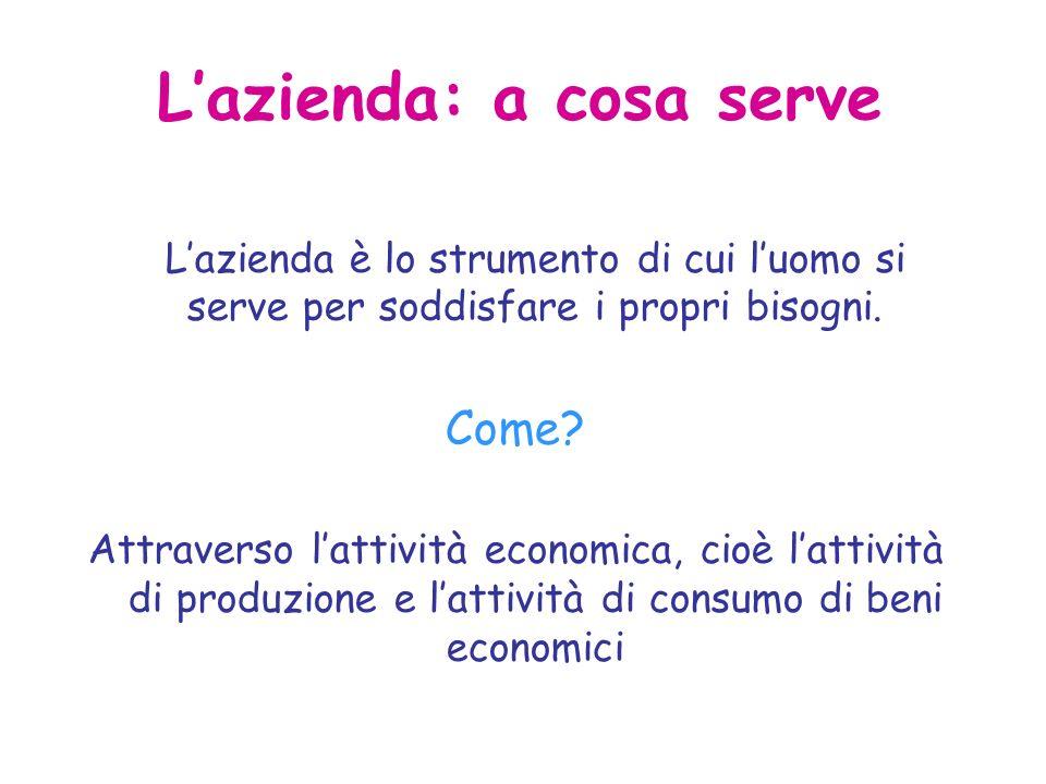 Lazienda: a cosa serve Lazienda è lo strumento di cui luomo si serve per soddisfare i propri bisogni.