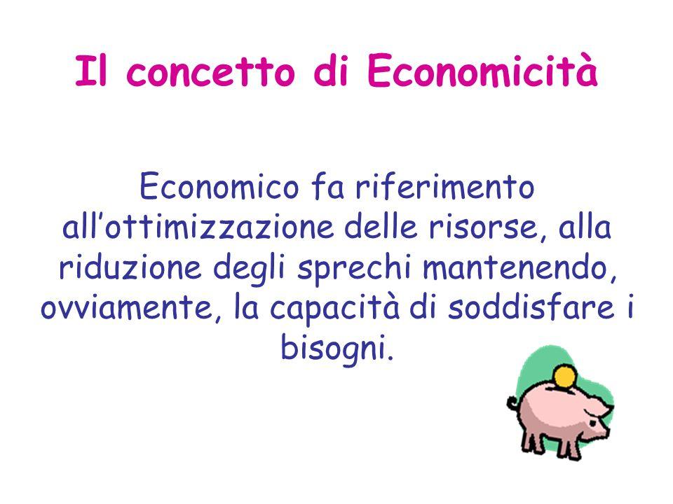 Il concetto di Economicità Economico fa riferimento allottimizzazione delle risorse, alla riduzione degli sprechi mantenendo, ovviamente, la capacità di soddisfare i bisogni.