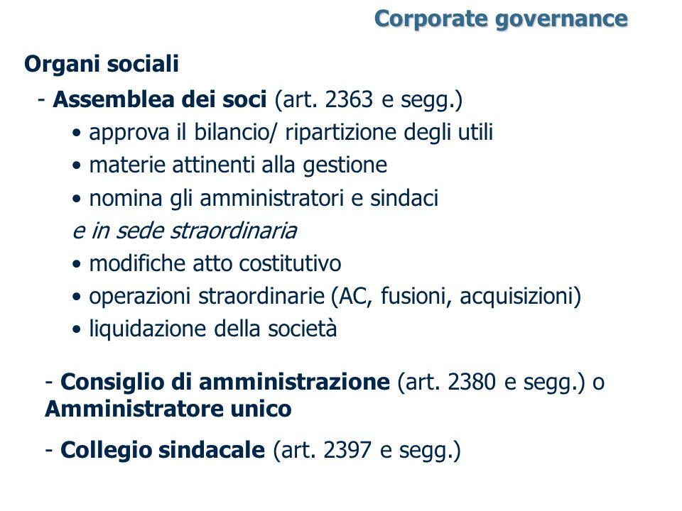 Organi sociali - Assemblea dei soci (art. 2363 e segg.) approva il bilancio/ ripartizione degli utili materie attinenti alla gestione nomina gli ammin