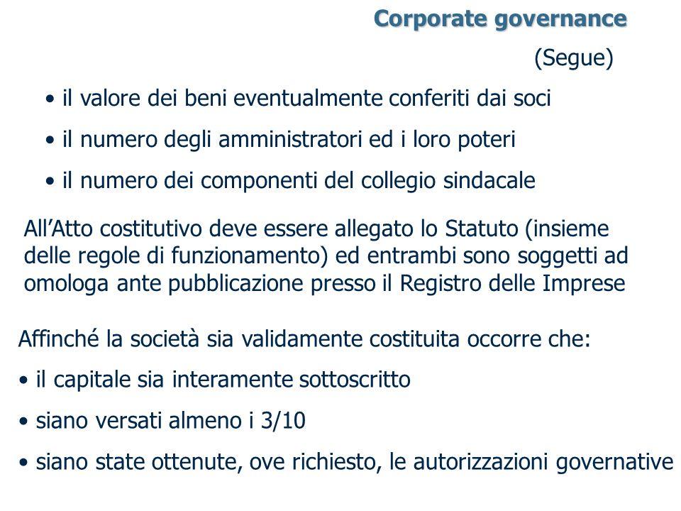 (Segue) il valore dei beni eventualmente conferiti dai soci il numero degli amministratori ed i loro poteri il numero dei componenti del collegio sind