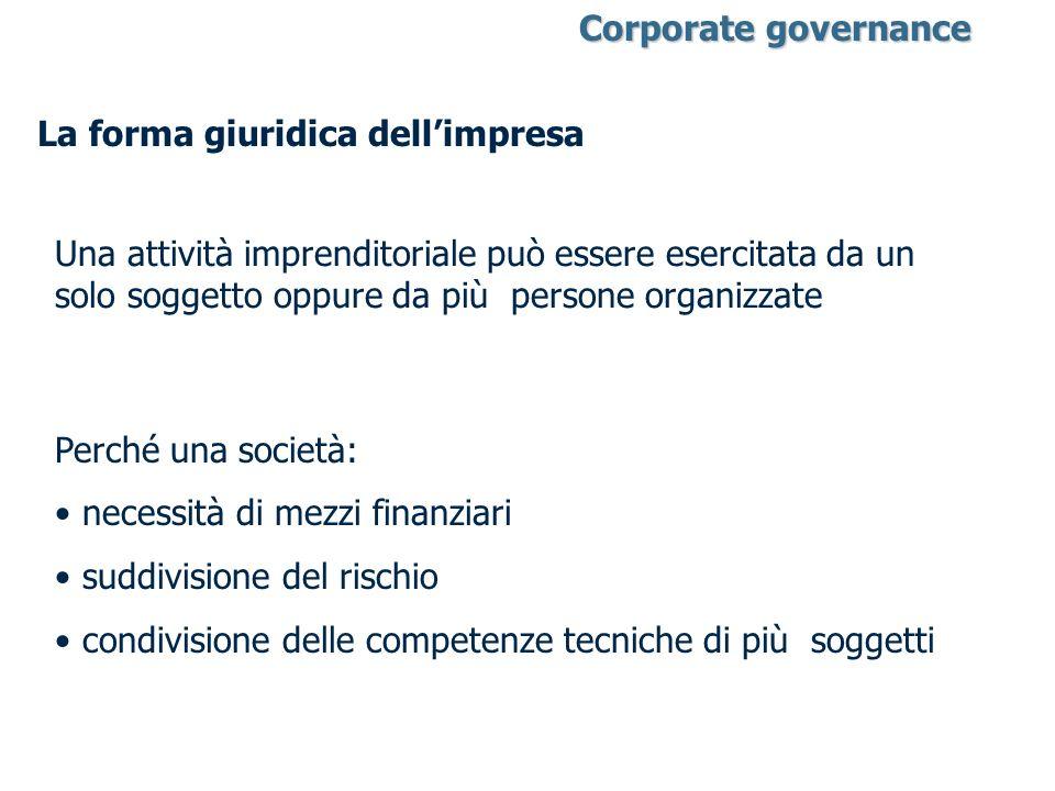 Corporate governance Corporate governance La forma giuridica dellimpresa Una attività imprenditoriale può essere esercitata da un solo soggetto oppure