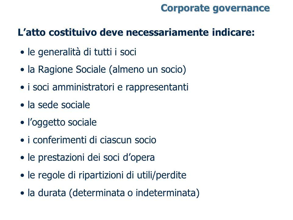 Latto costituivo deve necessariamente indicare: le generalità di tutti i soci la Ragione Sociale (almeno un socio) i soci amministratori e rappresenta
