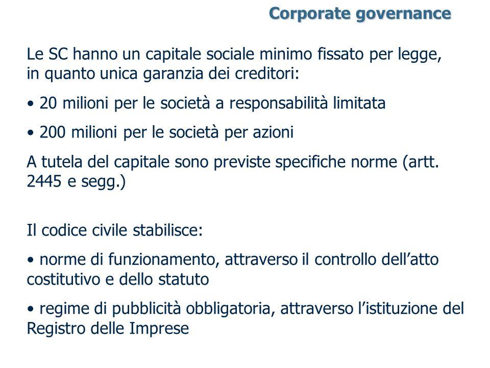 Le SC hanno un capitale sociale minimo fissato per legge, in quanto unica garanzia dei creditori: 20 milioni per le società a responsabilità limitata