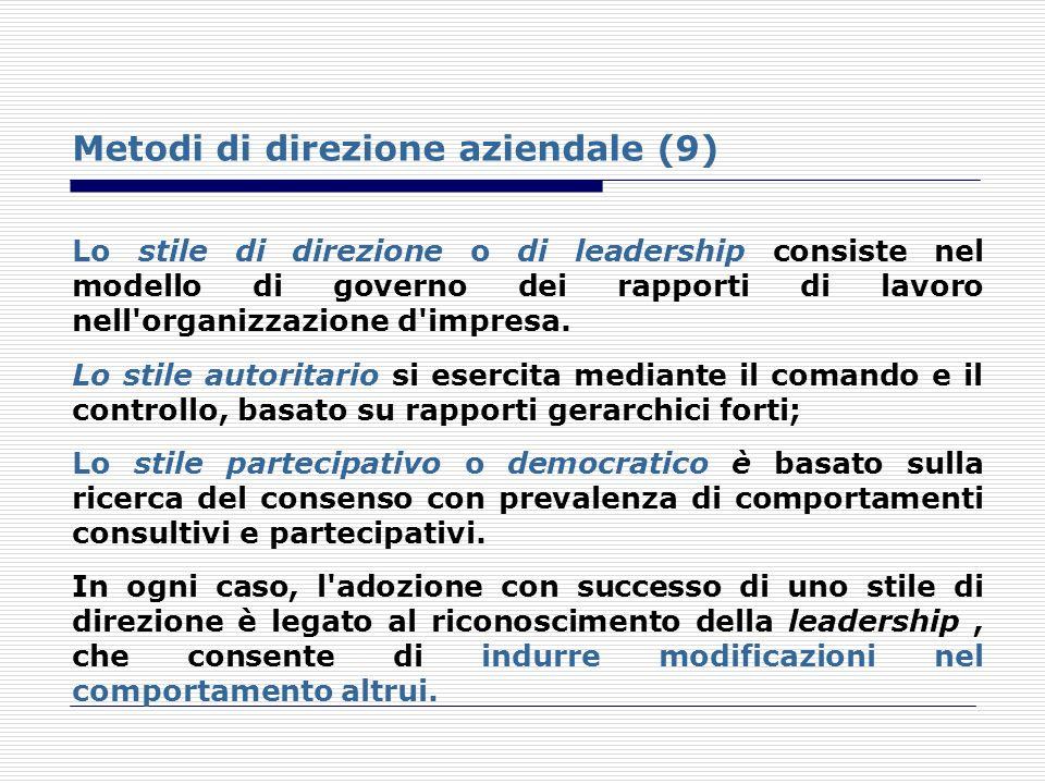 Metodi di direzione aziendale (9) Lo stile di direzione o di leadership consiste nel modello di governo dei rapporti di lavoro nell'organizzazione d'i