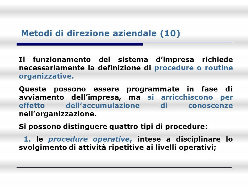 Metodi di direzione aziendale (10) Il funzionamento del sistema dimpresa richiede necessariamente la definizione di procedure o routine organizzative.