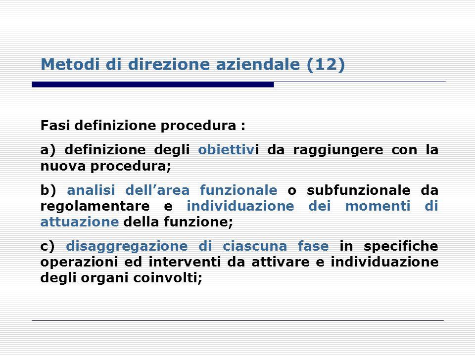 Fasi definizione procedura : a) definizione degli obiettivi da raggiungere con la nuova procedura; b) analisi dellarea funzionale o subfunzionale da r