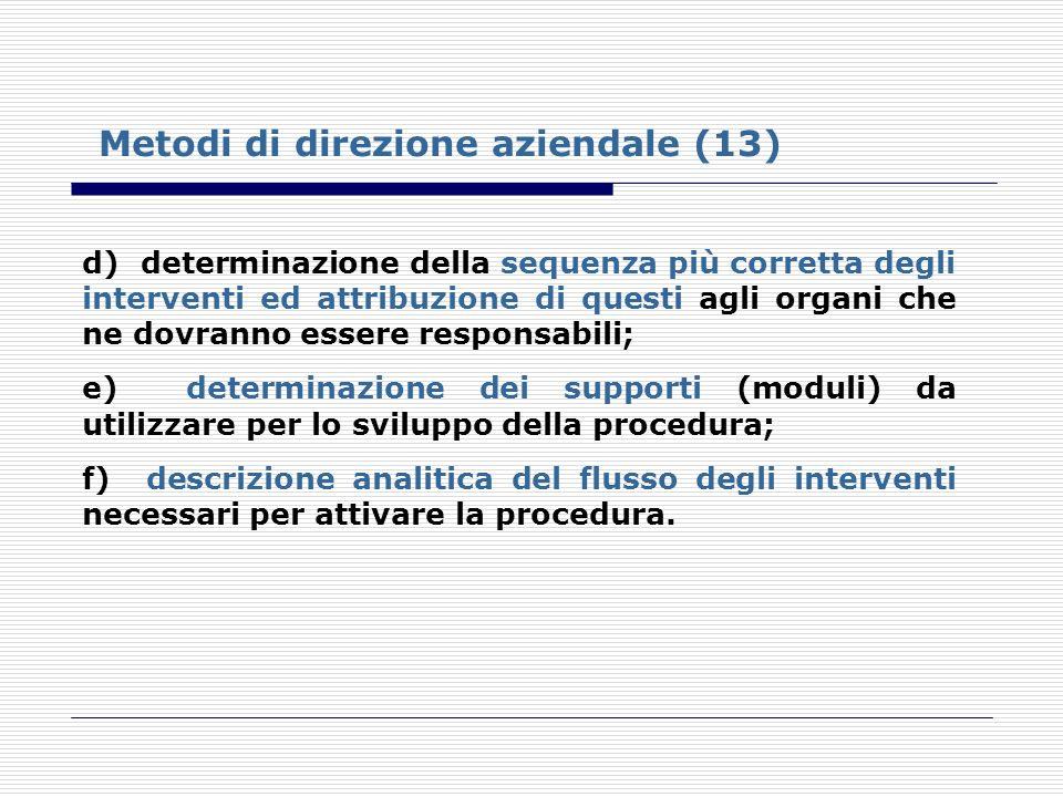 Metodi di direzione aziendale (13) d) determinazione della sequenza più corretta degli interventi ed attribuzione di questi agli organi che ne dovrann
