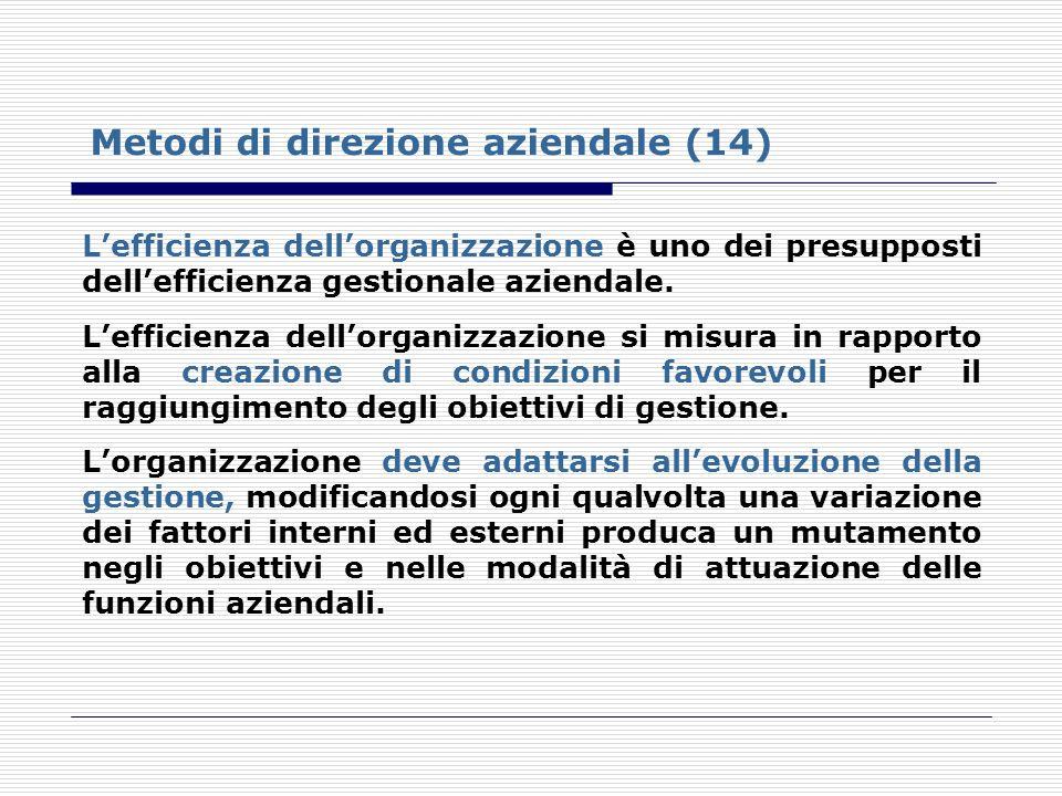 Metodi di direzione aziendale (14) Lefficienza dellorganizzazione è uno dei presupposti dellefficienza gestionale aziendale. Lefficienza dellorganizza