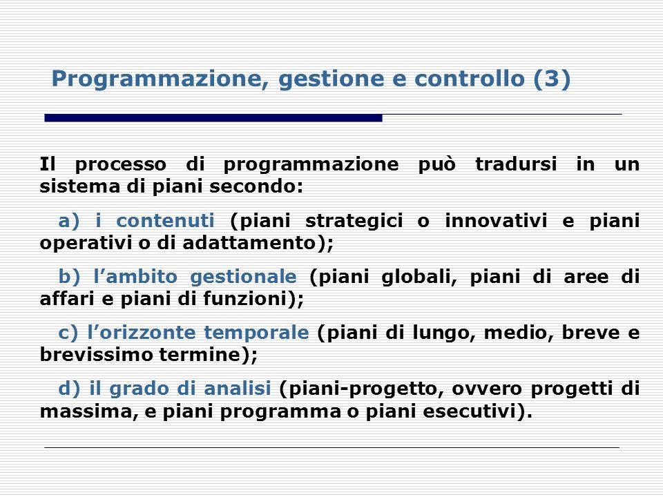Programmazione, gestione e controllo (3) Il processo di programmazione può tradursi in un sistema di piani secondo: a) i contenuti (piani strategici o