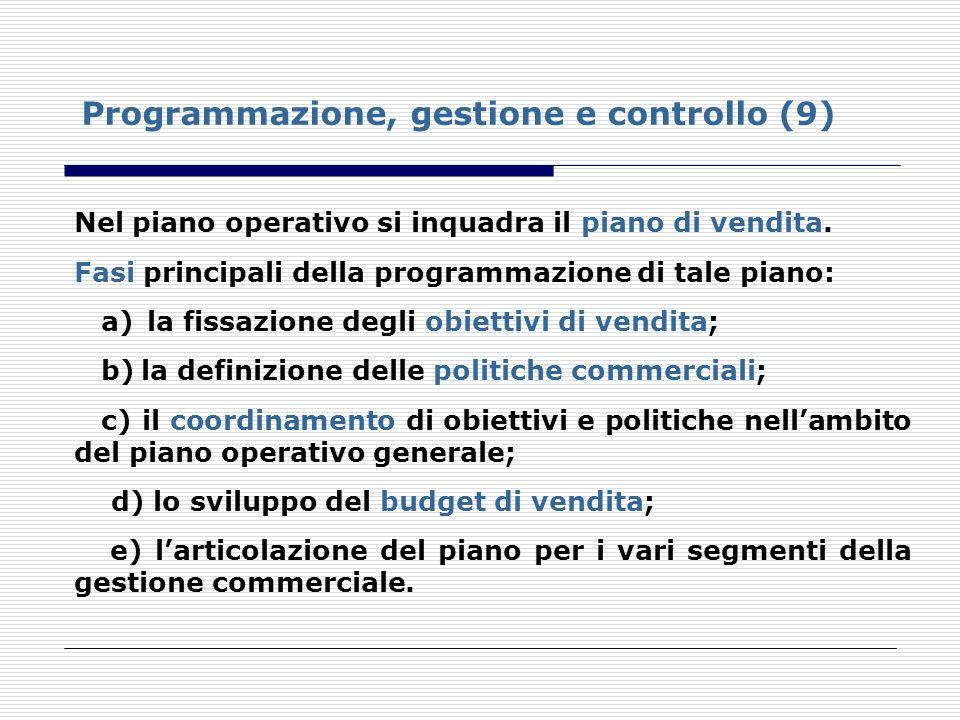 Programmazione, gestione e controllo (9) Nel piano operativo si inquadra il piano di vendita. Fasi principali della programmazione di tale piano: a) l