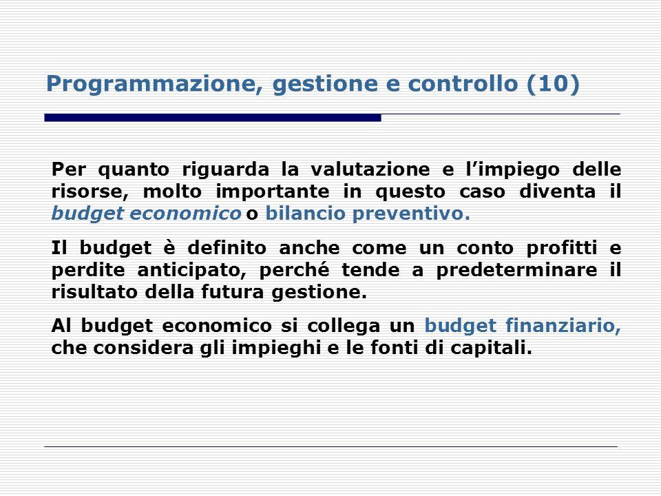 Programmazione, gestione e controllo (10) Per quanto riguarda la valutazione e limpiego delle risorse, molto importante in questo caso diventa il budg