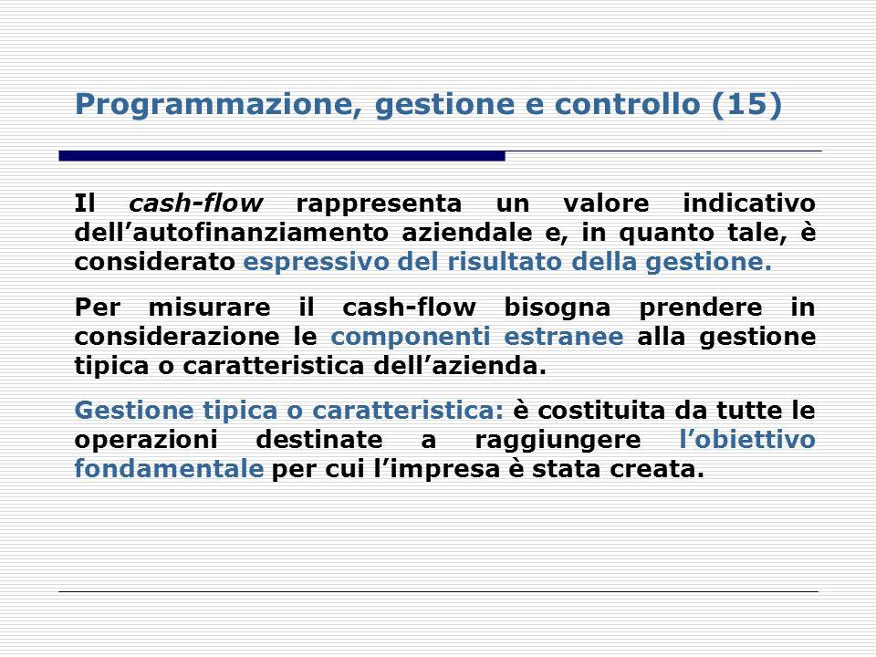 Programmazione, gestione e controllo (15) Il cash-flow rappresenta un valore indicativo dellautofinanziamento aziendale e, in quanto tale, è considera