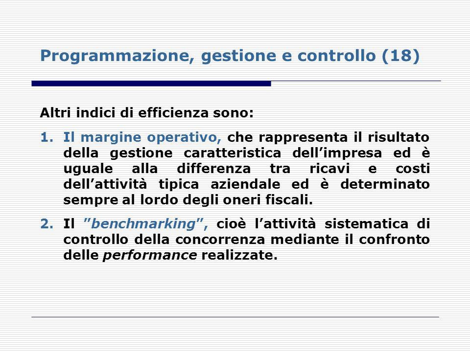 Programmazione, gestione e controllo (18) Altri indici di efficienza sono: 1.Il margine operativo, che rappresenta il risultato della gestione caratte