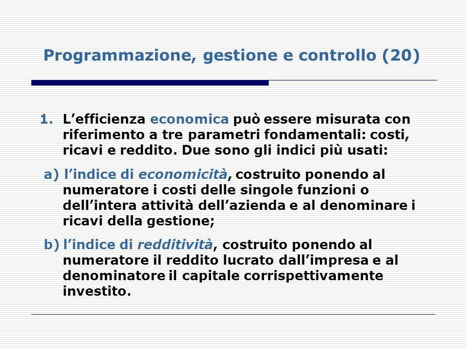 Programmazione, gestione e controllo (20) 1.Lefficienza economica può essere misurata con riferimento a tre parametri fondamentali: costi, ricavi e re