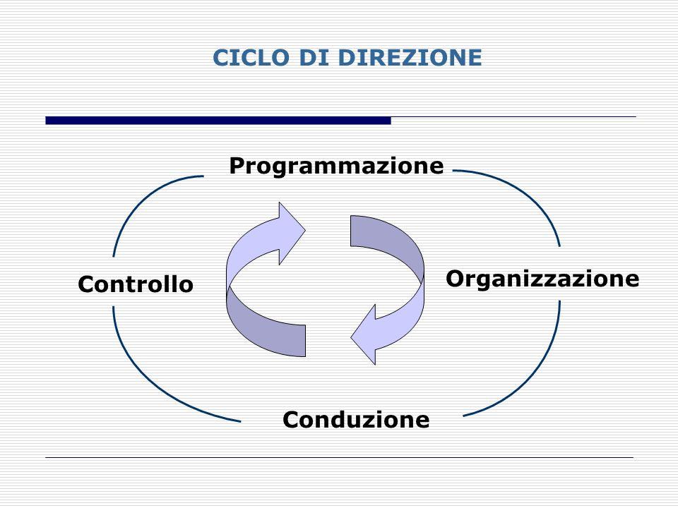 CICLO DI DIREZIONE Programmazione Organizzazione Conduzione Controllo