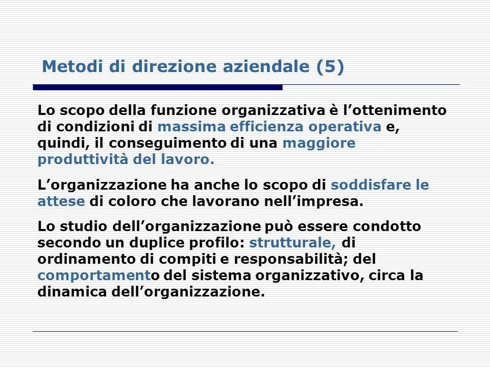 Metodi di direzione aziendale (5) Lo scopo della funzione organizzativa è lottenimento di condizioni di massima efficienza operativa e, quindi, il con
