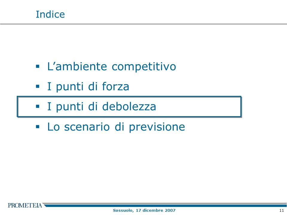 11 Sassuolo, 17 dicembre 2007 Lambiente competitivo I punti di forza I punti di debolezza Lo scenario di previsione Indice