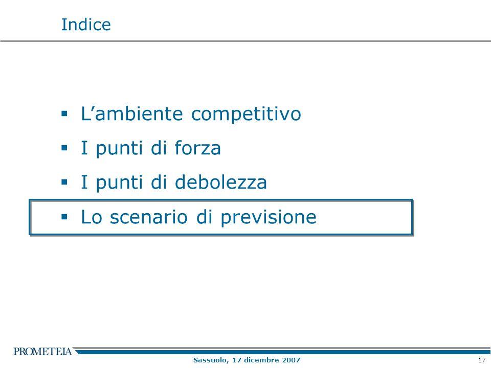 17 Sassuolo, 17 dicembre 2007 Lambiente competitivo I punti di forza I punti di debolezza Lo scenario di previsione Indice
