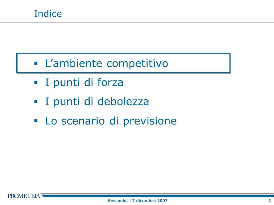 2 Lambiente competitivo I punti di forza I punti di debolezza Lo scenario di previsione Indice