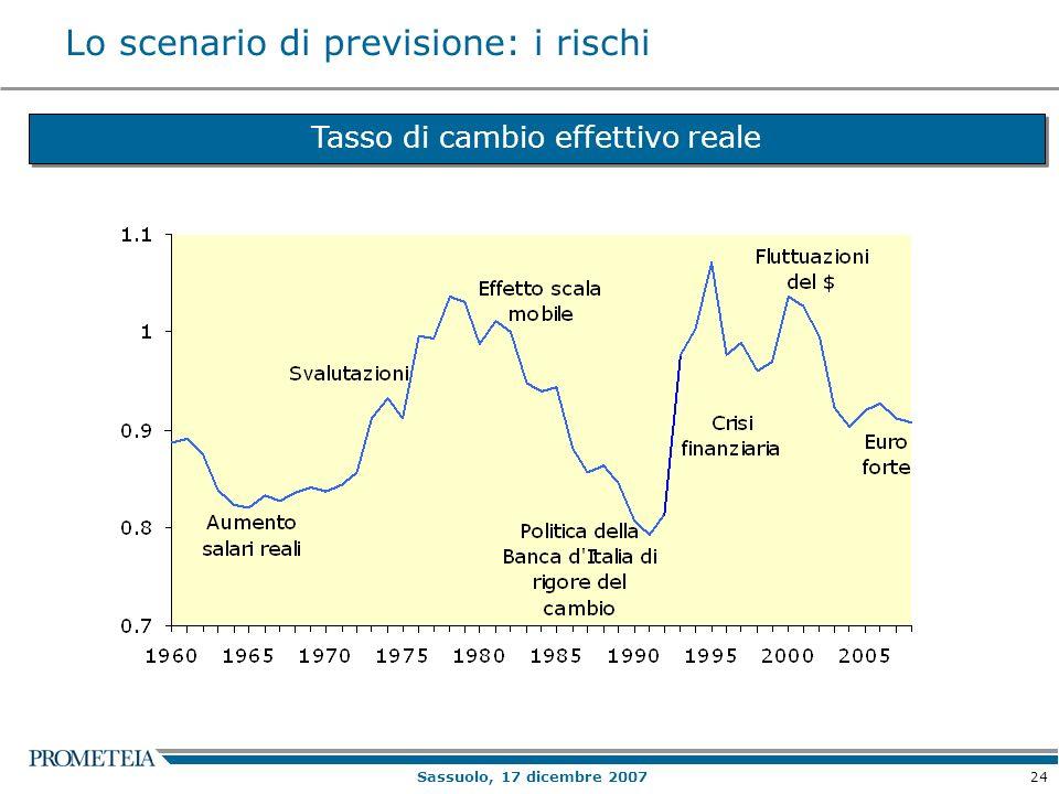 24 Sassuolo, 17 dicembre 2007 Lo scenario di previsione: i rischi Tasso di cambio effettivo reale
