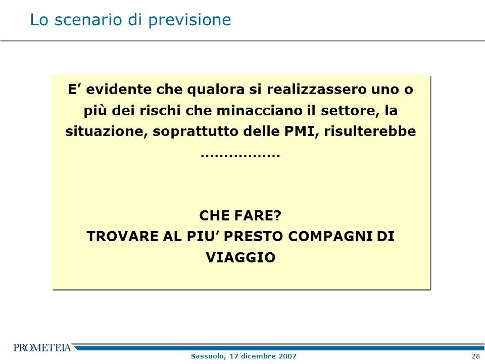 28 Sassuolo, 17 dicembre 2007 Lo scenario di previsione E evidente che qualora si realizzassero uno o più dei rischi che minacciano il settore, la situazione, soprattutto delle PMI, risulterebbe …….……….