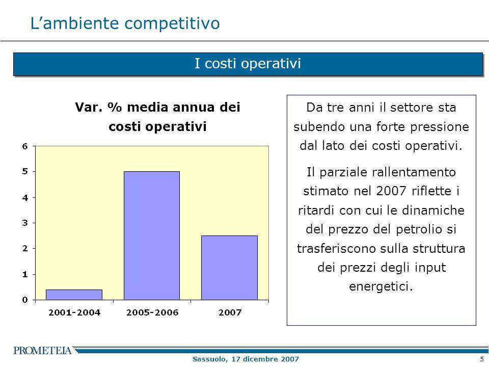 5 Sassuolo, 17 dicembre 2007 I costi operativi Var.