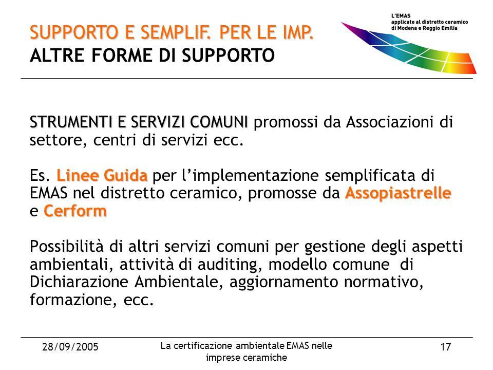 28/09/2005 La certificazione ambientale EMAS nelle imprese ceramiche 17 STRUMENTI E SERVIZI COMUNI STRUMENTI E SERVIZI COMUNI promossi da Associazioni di settore, centri di servizi ecc.