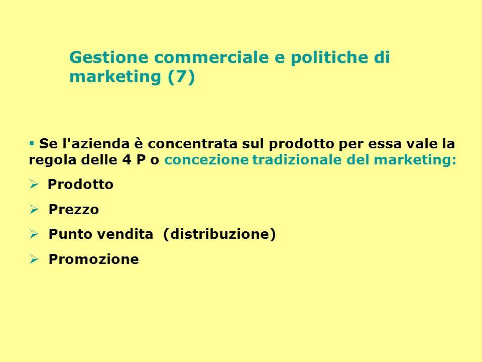 Gestione commerciale e politiche di marketing (7) Se l'azienda è concentrata sul prodotto per essa vale la regola delle 4 P o concezione tradizionale