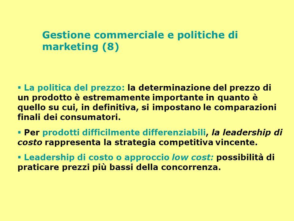Gestione commerciale e politiche di marketing (8) La politica del prezzo: la determinazione del prezzo di un prodotto è estremamente importante in qua