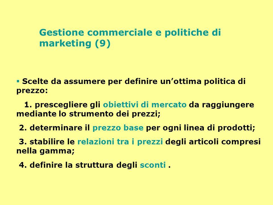 Gestione commerciale e politiche di marketing (9) Scelte da assumere per definire unottima politica di prezzo: 1. prescegliere gli obiettivi di mercat