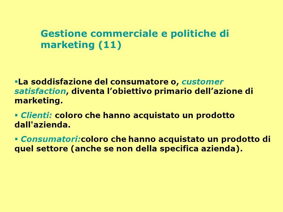 Gestione commerciale e politiche di marketing (11) La soddisfazione del consumatore o, customer satisfaction, diventa lobiettivo primario dellazione d