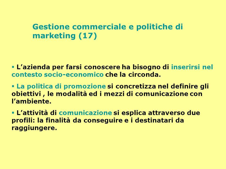 Gestione commerciale e politiche di marketing (17) Lazienda per farsi conoscere ha bisogno di inserirsi nel contesto socio-economico che la circonda.