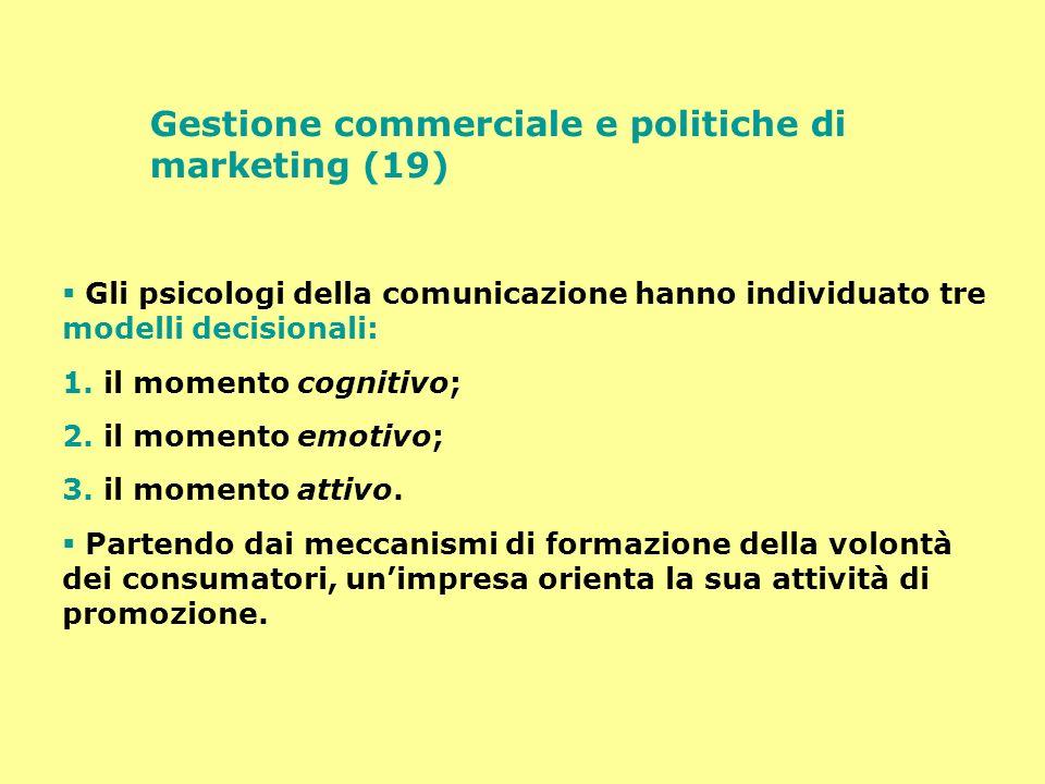 Gestione commerciale e politiche di marketing (19) Gli psicologi della comunicazione hanno individuato tre modelli decisionali: 1. il momento cognitiv